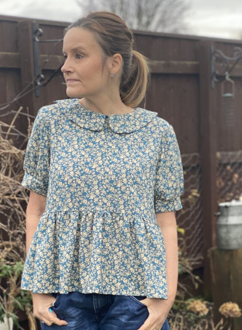 olive blouse petrol blue